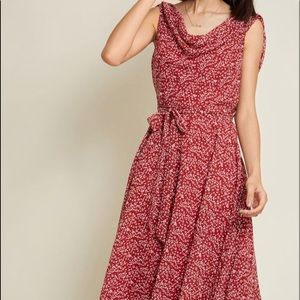 Undeniably Adorable Midi Dress in Burgundy Floral